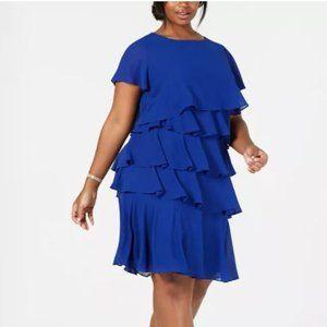 Plus Size Chiffon Tiered Dress Blue